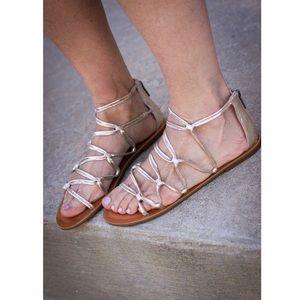 Lucky Brand Metallic Gold Anisha Gladiator Sandal